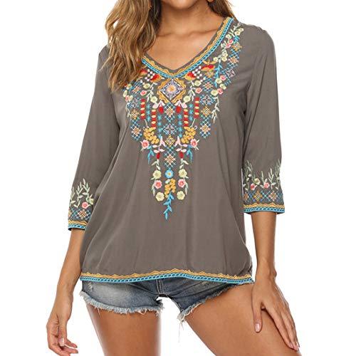 T Shirts Damen Sommer Elegant Folklore Bluse 3/4 Ärmel Blusen T-Shirt Loose Casual V-Ausschnitt Lose Bluse Oberteile Blusen Damen Sommer Mode Tunika Oversize Top XL