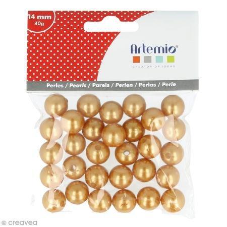Perles rondes 14 mm - Doré - 28 pcs environ