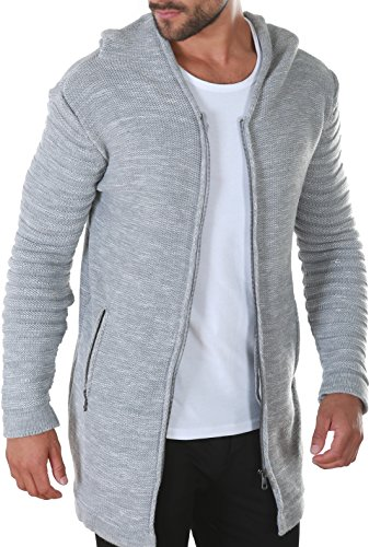 Karl\'s People People Herren Strickjacke mit Kapuze K-115 L Grey