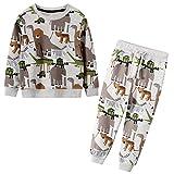 JinBei Conjuntos Deportivos para Niño Cebra Elefante Gris Chándales Conjunto Sudaderas Sweater Pantalones Ajustable Cinturón Algodon Otoño Invierno Trajes Disfraces bebé 2-7 años