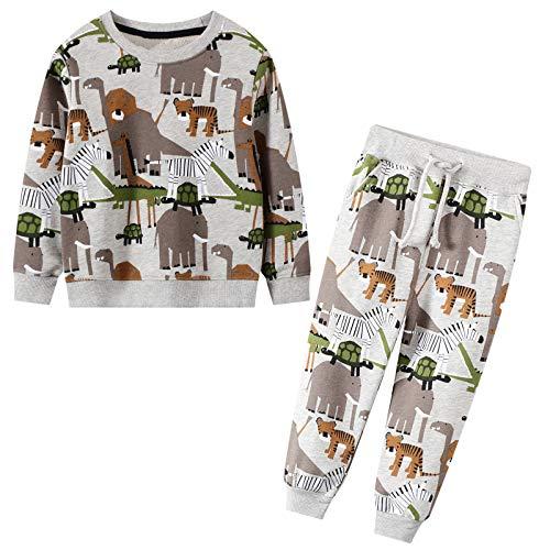 JinBei Trainingsanzug Set für Kinder Jungen Dinosaurier Elefant Drucken Jogginganzug Pullover und Hosen Anzug Baumwolle Sportanzug Herbst Winter Alter Grau 2-7 Jahre