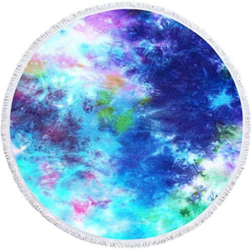 NTtie Toalla de Playa de Microfibra,Toalla de Piscina Grande Esterilla de Yoga, Color del teñido Anudado de la Toalla Redonda 3D