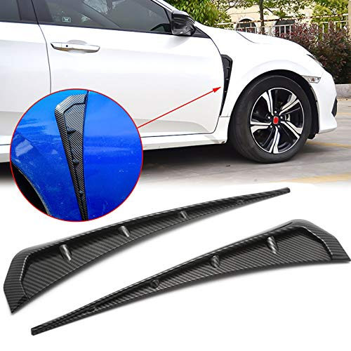Xotic Tech Compatible with Honda Civic 10th Gen 2016-2020 Side Fender Vent Cover, ABS Carbon Fiber Add-on Type-R Style Car Front Fender Vent Air Wing Cover Trim