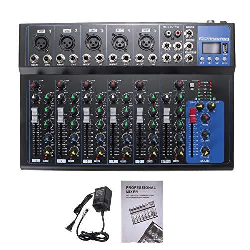 DyNamic 7-Kanaals Digitale Microfoon Geluid Audio Mixer Console 48V Fantoomvoeding Professionele Karaoke Audio Mixer Versterker Met Usb