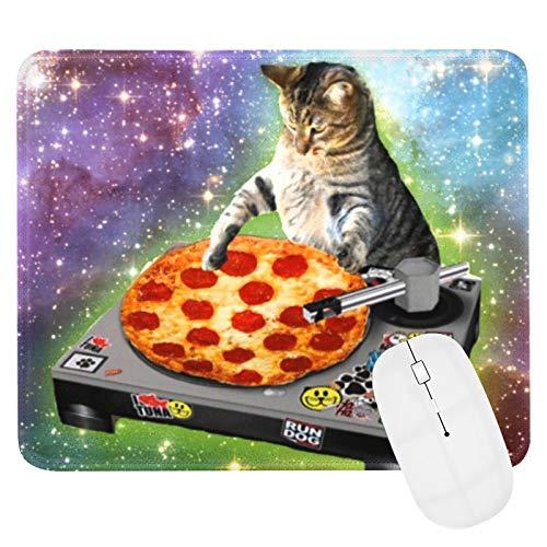 Gaming Mauspad, DJ Katze Pizza Mauspad, Wasserdicht und rutschfest Office Mauspad Raumkatze süßes Katzenplakat Mauspad mit Genähten Kanten,25x30cm