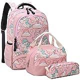 Mochila Unicornio Niños Impermeable Mochila Escolar para Adolescente Pequeñas Mochilas Infantil Bolso para Chicas para La Escuela,Viajes,Intemperie Juego de 3 - Rosa