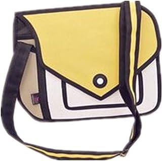 YQWEL 3D Style 2D Drawing Cartoon Handbag Shoulder Canvas Messenger Bag Bow  Handbags 92ccb940bbc2e