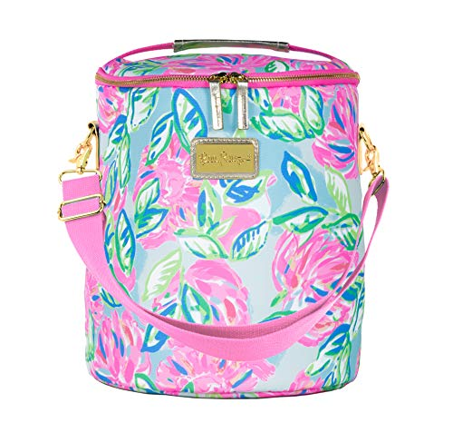 Lilly Pulitzer Pink/Blue/Green Insulated Soft Beach Cooler with Adjustable/Removable Strap and Double Zipper Close Totally Blossom