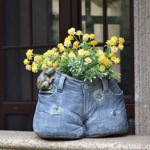 FTFTO Equipo de Vida Decoración al Aire Libre Jardín Jardín Terraza Jeans Maceta Artesanía Césped Paisajismo Adornos 35 * 22 * 26 cm Jeans Maceta