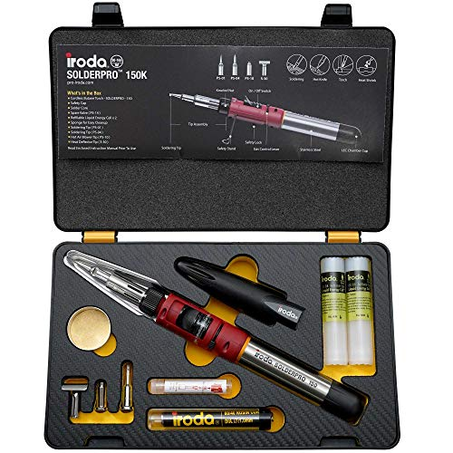 Iroda Solderpro 150K Cordless Soldering Iron Kit, 4-in-1 Portable Heat Shrink, Hot Knife, Butane Soldering Iron Torch, Perfect For Hobbyists, 25 Second Heat Up, 100 Mins Run Time Butane Not Included