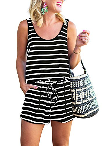 REORIA Womens Casual Summer One Piece Sleeveless Tank Top Striped Playsuits Yoga Short Jumpsuit Beach Rompers Black+White Small
