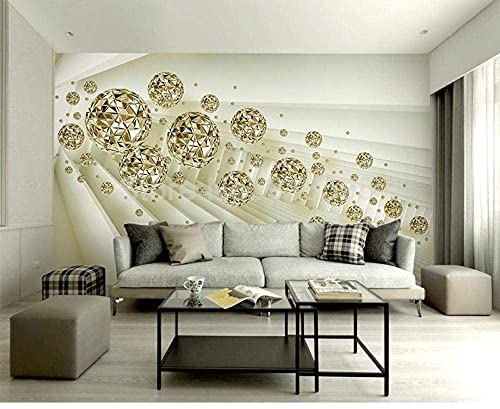 Life Accessories Custom Photo Mural Wallpaper 3D Stereo Abstract Space Golden Ball Modern Fashion Interior Background Wall Decorative Painting 250x175 cm (98.4 by 68.9 in)