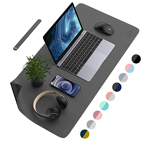 """AFRITEE Desk Pad Protector Mat - Dual Side PU Leather Desk Mat Large Mouse Pad Waterproof Desk Organizers Office Home Table Decor Gaming Writing Mat Smooth (Black/Dark Gray, 35.4"""" x 17"""")"""