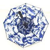 Antivento Pioggia dello Spruzzo d'Acqua Fan Ombrello con Protezione Solare Ventola di Raffreddamento Esplosione Umbrella Umbrella Impermeabile, Sky E Nuvole Modello