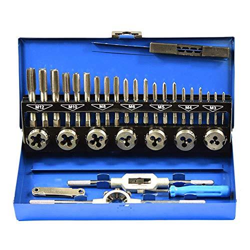 WY-YAN 32Pcs/Set Metric Tap - 32Pcs/Set Alloy Steel Durable Metric Tap Die Plug Drill Bits M3-M12 Hand Tools for Metalworking