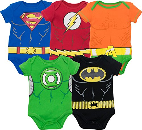 DC Comics Body de Superhéroes - Superman, el Flash, Aquaman, Green Lantern y Batman para Bebé-Niños (Pack de 5), Multicolor 0-3 Meses