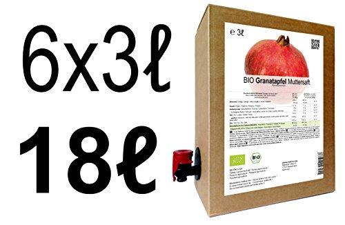 BIO Granatapfel Muttersaft - 100% Direktsaft 18 Liter ( 6 x 3 Liter )