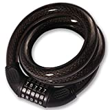 BIGLUFU Bike Lock Cable Bicycle Scooter Motorcycle Locks, 0.9' / 22mm Diameter with 5-Digit Combination, Heavy Duty Extra Long Chain Chains, Cables Braided Steel (1.2m/4ft Clear Black)
