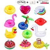 redting 12 Pack Inflatable Drink Holders+1 Inflatable Needle+1...