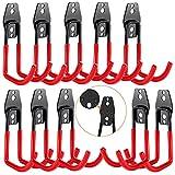 3-H Crochets de Systèmes de Rangement, Acier Garage de Stockage Utilitaire, 10PC, 3 Points de Soudages, Garage Hooks, Crochets et Cintres avec Revêtement Antidérapant pour Outils (Rouge)