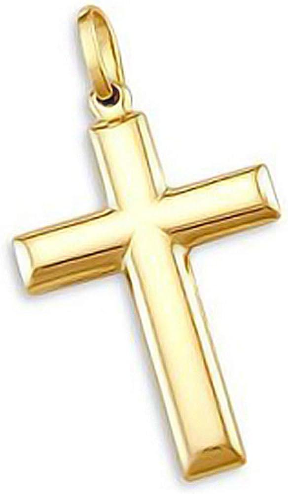 14k Yellow Gold Cross Crucifix Pendant Plain 1