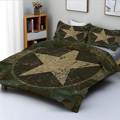 Juego de funda nórdica, diseño grunge polvoriento y sucio con una estrella en círculo, tema de guerra encubierto, juego de cama decorativo de 3 piezas con 2 fundas de almohada, verde militar, beige, m