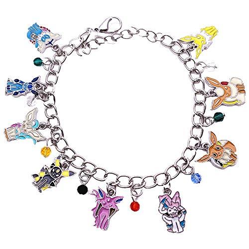 Universe of Fandoms Pokem Anime Cartoon pika Eevee Evolutions Pokém Charm Bracelet Gifts for Women