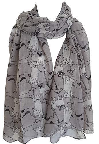 Sciarpa con stampa di cani carini animali domestici da donna lunga GlamLondon Wrap A20 - Grigio 90
