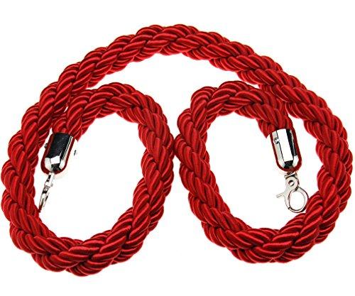 Absperrseil, für Warteschlangen, 1,5m lang, gedreht, in Rot/Blau/Schwarz, rot, TRTAZ11A