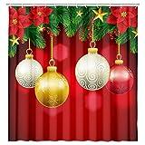 MERCHR Weihnachts-Duschvorhang für Badezimmer, rote Weihnachtskugel mit Tannenzweigen, Schneeflocke, Weißgold, Weihnachts-Kugel Badezimmer-Dekoration, wasserdichter Stoffvorhang mit Haken