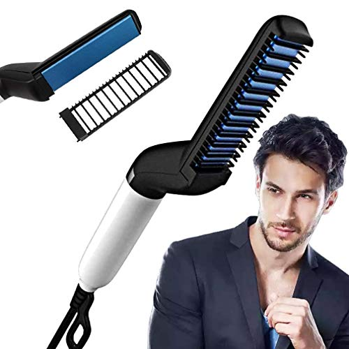 Buyerzone Men's Quick Beard Straightening, Curly Hair, Magic Massage, Permed Clip Comb...