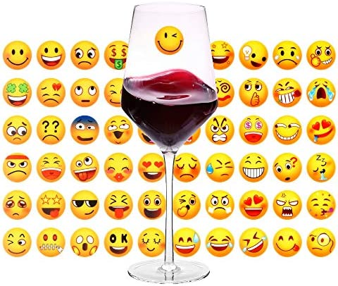 60 Pieces Wine Glass Charms Stickers Wine Glass Markers Reusable Washable Tags Red Wine Accessories product image