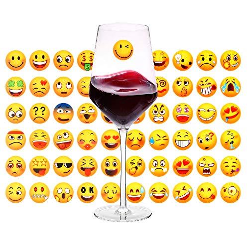 MORCART Emoji Aufkleber 60 Blätter Stickers Kinder Mögen Silikonaufkleber Groß oder Klein Dekorativer Kühlschrank, Rotweinglas, Wand etc Weihnachten Gewählt