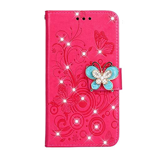 Fatcatparadise Coque Compatible Nokia 5.1 2018 [avec Verre Trempé], PU Cuir Flip Housse Étui Rabat Cover Case Wallet Portefeuille Support avec Porte-Cartes Pochettes Case (Rose Rouge)