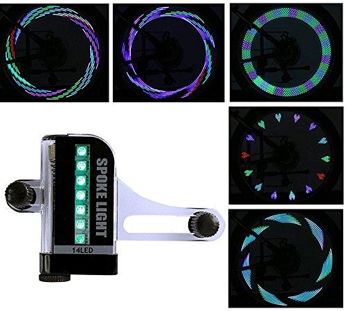 Bicicletta LED Spoke Light Luci per biciclette a ruota impermeabile con 14 LED ultra-luminosi, 30 tipi di modelli cambiano automaticamente