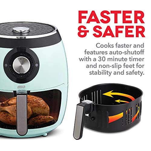 Dash DFAF455GBAQ01 Deluxe Electric Air Fryer + Oven Cooker with Temperature Control, Non Stick Fry Basket, Recipe Guide + Auto Shut Off Feature, 6 qt, Aqua
