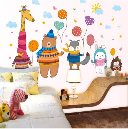TTBH Giraffe Bear Fox Rabbit Hedgehog Wall Stickers DIY Animals Mural Decals for Kids Rooms Baby Bedroom Decoration
