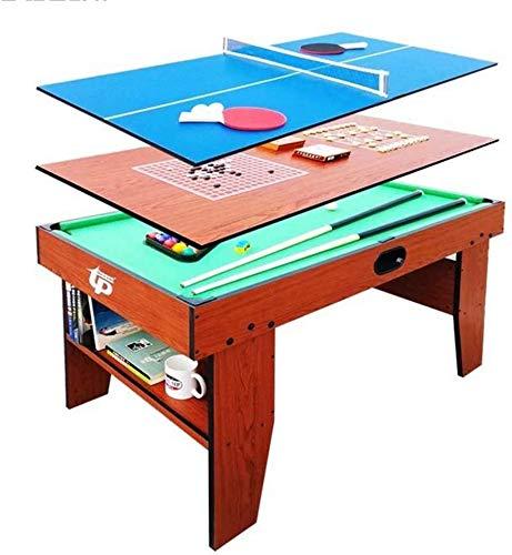 YUHT Spieltisch,Multi-Funktions-Spieltisch 54 Combo Tabelle 5 in 1 Unterhaltung Tisch Billardtisch, Schach, Gobang, Tischtennis, Schreibtisch mit Schrank for Kinder und Erwachsene