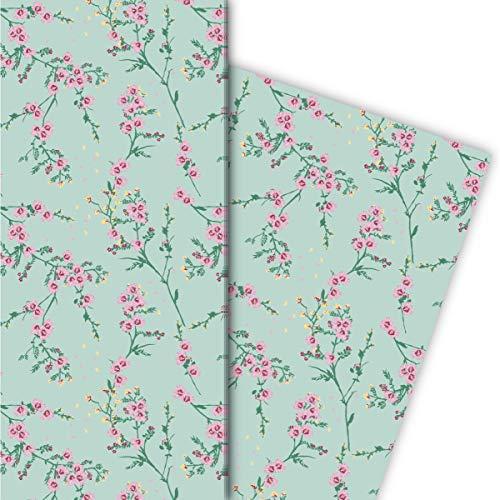 Kartenkaufrausch Zartes Blumen Geschenkpapier Set mit Hibiskus Blüten-Zweigen, mint • tolle Geschenkverpackung 32 x 48cm, 4 Bögen für Geburtstage, Hochzeit, Weihnachtsgeschenke, Dekorpapier