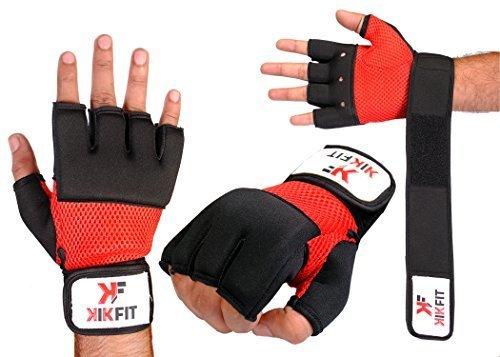 KIKFIT Boxeo Interior Venda de Mano Gel Guantes Neopreno MMA Pelea Muay Thai Fist Protector Vendajes Mitones - Rojo y Negro, S/M