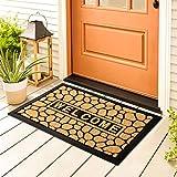 Switory Welcome Door Mats, Non-Slip Dirt Trapper Durable Rubber Doormats, Low-Profile Heavy Duty Doormat, Entrance Rugs for Front Back Door, Indoor, Entryway, Hallway, Garage, Patio 40 x 60 cm