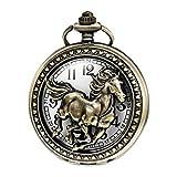 MORFONG Reloj de bolsillo de cuarzo para hombre y mujer, con cadena, diseño de caballo y caja de regalo, color
