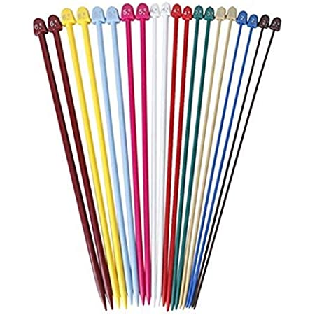 Cosoro Lot de 10 paires d'aiguilles à tricoter droites en plastique coloré de 2,0 mm à 6,5 mm Longueur 25 cm