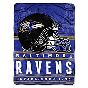 "NFL Baltimore Ravens ""Stacked"" Silk Touch Throw Blanket, 60"" x 80"""