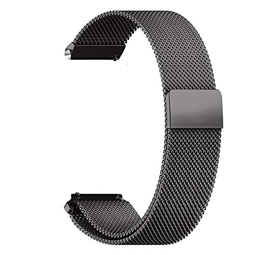 RanGuo Uhrenarmband, Breite 16mm / 18mm / 20mm / 22mm / 24mm, Edelstahl Metall Magnetisches Ersatzarmbänder mit Magnetverschluss für Smartwatch und Klassische Armbanduhren (18mm, Schwarz)