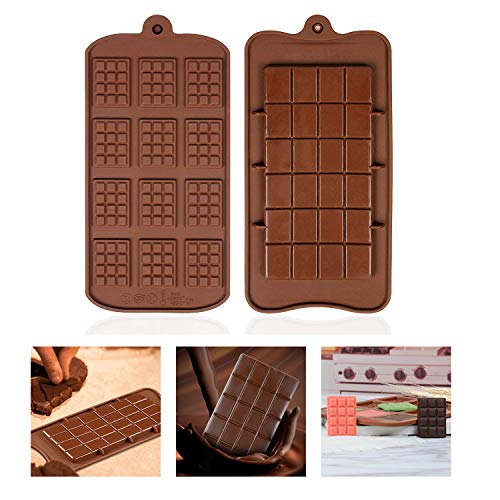 Silicone Break Apart Chocolate Molds -12 Cavity Mini Chocolate Bars Slab Silicone Fondant Mould- Candy Protein and Engery Bar Silicone Mold - Non-Stick Reusable DIY Baking Molds