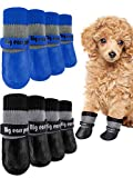 Weewooday 8 Pieces Dog Socks Non Slip Paw Protector Waterproof Pet Sock with Straps Rubber Sole Grippers Outdoor Dog Socks Boots for Hardwood Floors Small Medium Dogs Cats (Black, Blue,Medium)