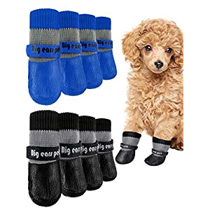 Weewooday 8 Pieces Dog Socks Non Slip Paw Protector Waterproof Pet Sock with Straps Rubber Sole Grippers Outdoor Dog Socks Boots for Hardwood Floors Small Medium Dogs Cats