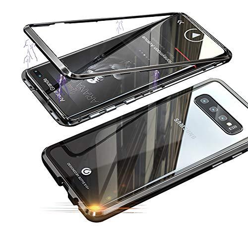 Jonwelsy Funda para Samsung Galaxy S10 Plus, Fuerte Tecnología de Adsorción Magnética Metal Bumper, Cubierta Trasera de Transparente Vidrio Templado Ultra Delgado Case Cover para S10+ (6,4 Pulgada)