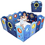 Yoleo Playpen for Baby and Toddlers Foldable Safety Play Yard, Indoor Play Fence with Drawing Board--- 14 Panels